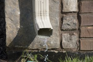 Gutter Downspout with water