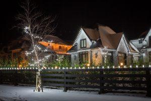 Side view of Christmas Lights display on home