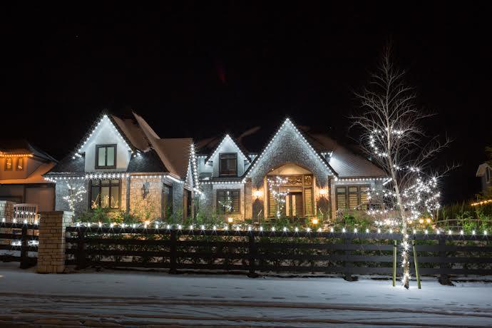 Christmas lights display on home