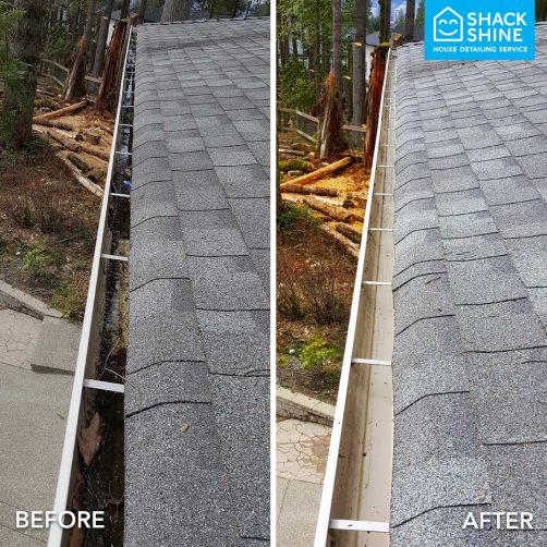 Professional gutter cleaning before and after