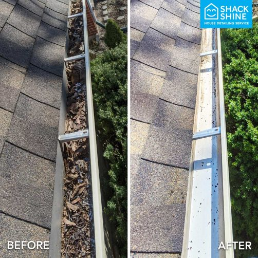 Shack Shine gutter cleaning before and after