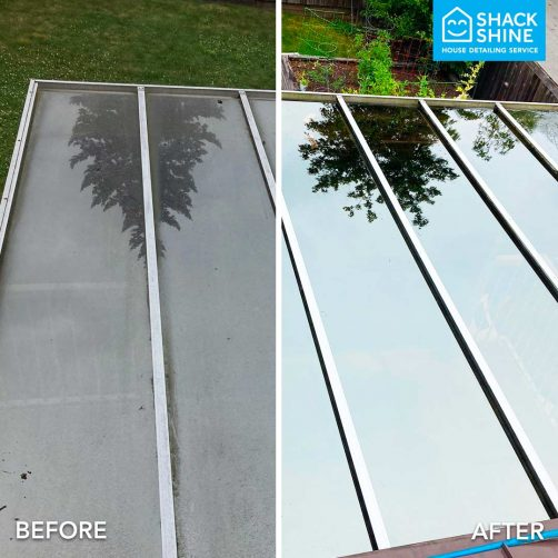 Professional window cleaning before and after